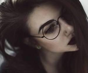 girl, eyebrows, and glasses image