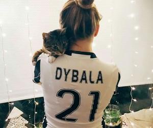 cat, girl, and Juventus image