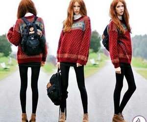 fashion, sweater, and model image