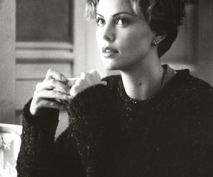 Charlize Theron, black and white, and girl image