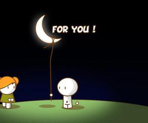 love, moon, and for you image