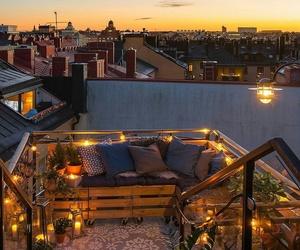 balcony, light, and sky image