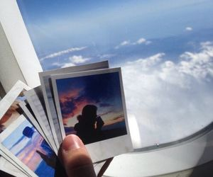 sky, travel, and polaroid image