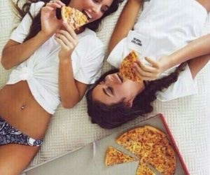 bed, best friends, and pizza image