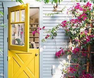 yellow, flowers, and door image
