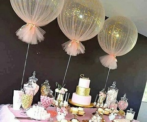 balloons, birthday, and cake image