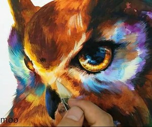 art, owl, and colorfull image