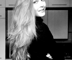 black and white, blonde, and girl image