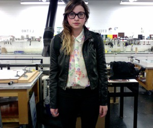 floral, leather jacket, and raybans image
