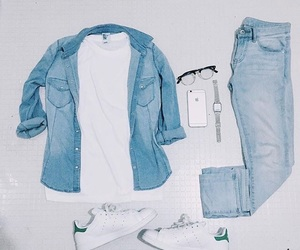 basic, denim, and green image