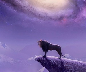lion, galaxy, and wallpaper image
