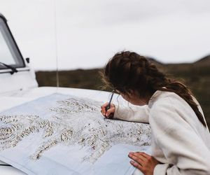 travel, girl, and map image