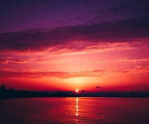 black sea, sunset, and landscape image
