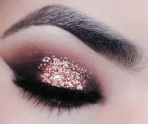 makeup, rose gold, and glitter image