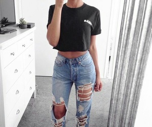 fashion, outfit, and jeans image