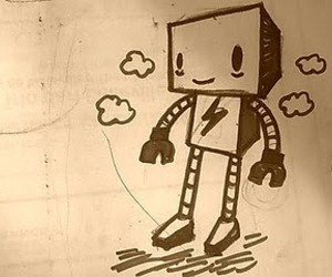 doodle, robot, and cute image