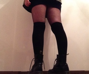 boots, fishnets, and knee high socks image