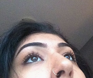 eyebrows, nose piercing, and nose ring image