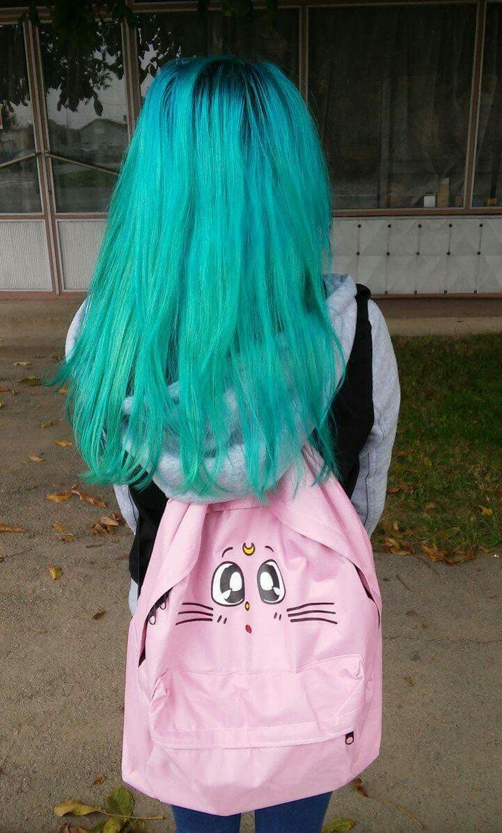 backpack, bluehair, and goth image
