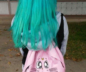 backpack, bluehair, and grunge image