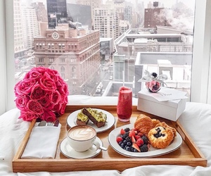 bedroom, white, and breakfast image