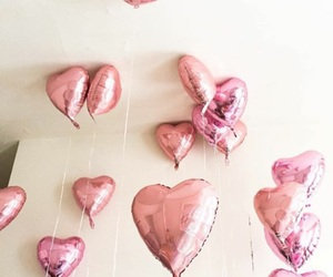 balloons, heart, and pink image