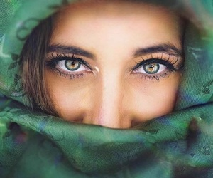 eyes, green, and woman image