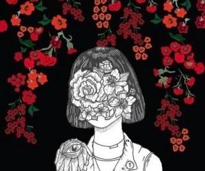 flowers, tumblr, and black image