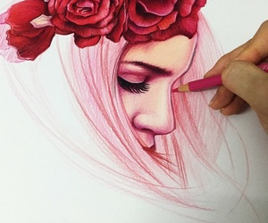 pink, art, and draw image