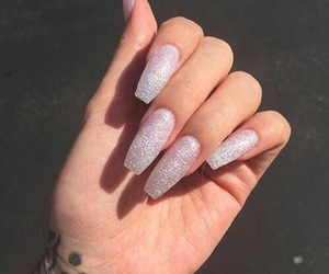 glitter, love, and long nails image
