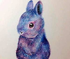 art, bunny, and galaxy image