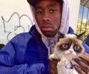 tyler the creator, odd future, and grumpy cat image