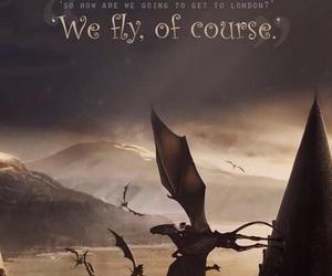 harry potter, fly, and hogwarts image