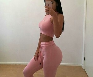hair, body goals, and pink image