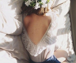 girl, flowers, and bed image