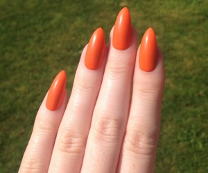 nail polish, orange nails, and stiletto nails image