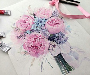 art, pretty, and flowers image