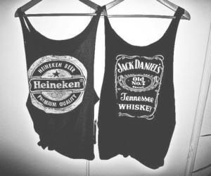 heineken, jack daniels, and black and white image