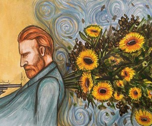 art, sunflower, and van gogh image