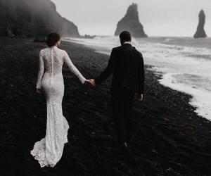 couple, wedding, and beach image