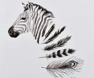 zebra, art, and drawing image