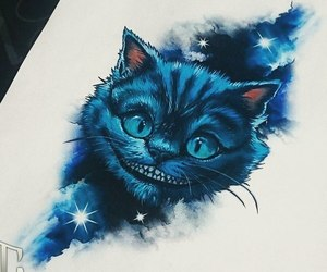 art, Cheshire cat, and blue image
