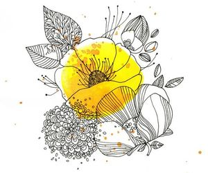 flower, yellow, and drawing image