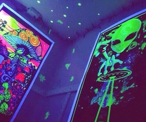 posters, stars, and psychedelic image