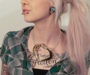 girl, piercing, and tattoo image