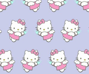 background, hello kitty, and pattern image