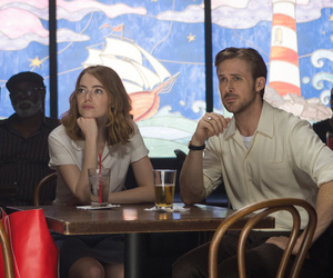 emma stone, ryan gosling, and la la land image