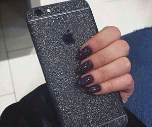 iphone, nails, and black image