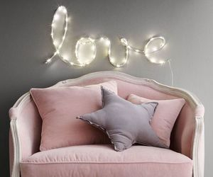 armchair, pink, and love image