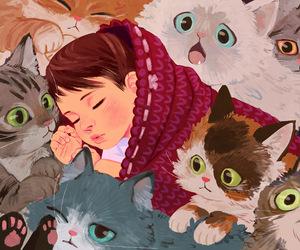 art, cats, and sleep image